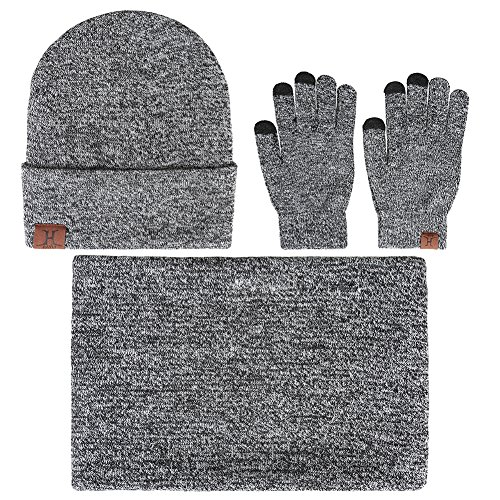 - Winter Men Beanie Hat + Scarf + Touch Screen Gloves, 3 Pieces Winter Warm Clothing Set for Men