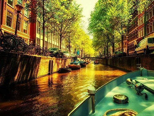 Friday's Chance Canvas Prints - Amsterdam Canal Oil Painting On Canvas Modern Wall Art Pictures For Home Decoration(24 x 36 ()