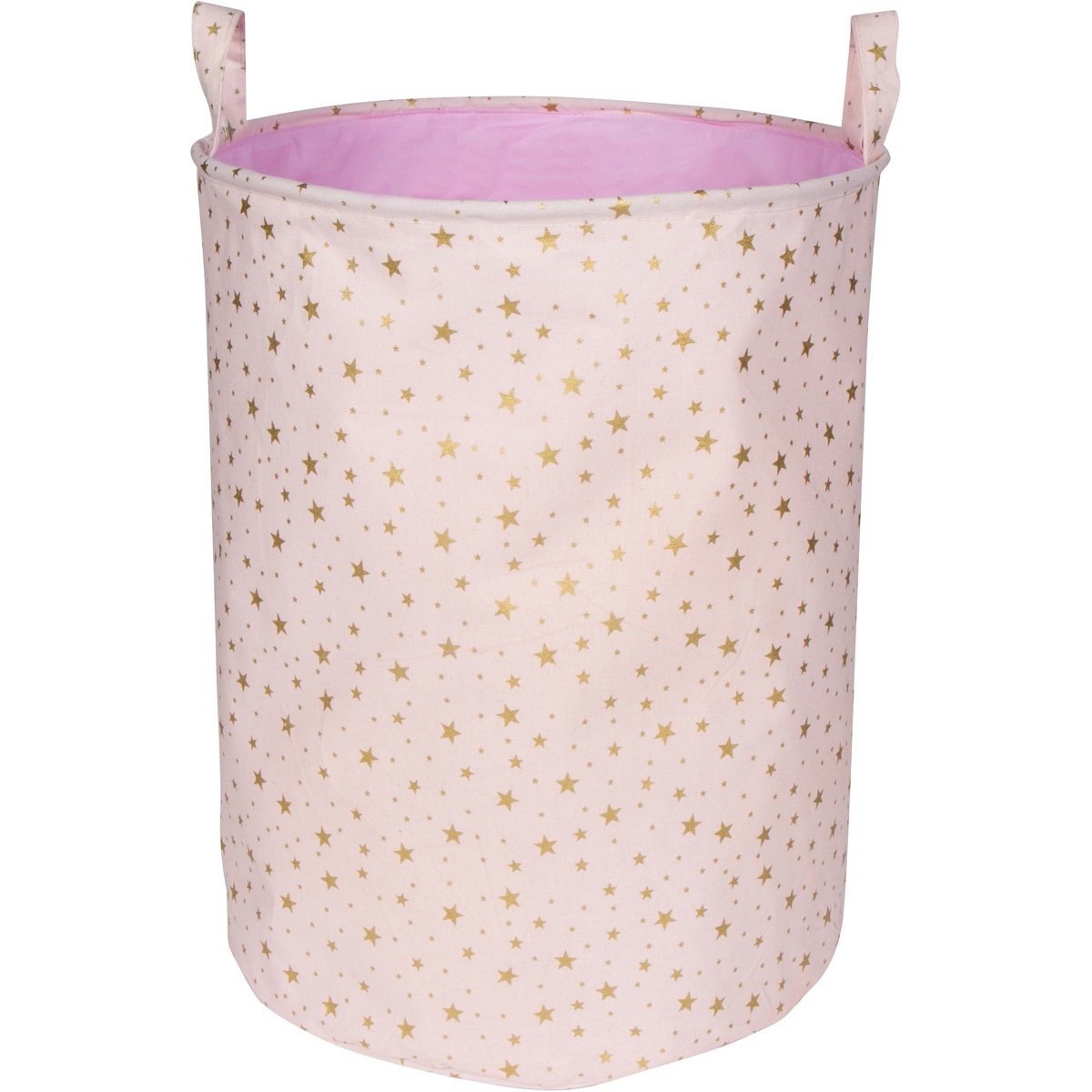 LuxCoco Blush Pink Storage Basket/Laundry Hamper with Shimmery Gold Star Pattern | 19.6 Large Waterproof Collapsible Cotton Canvas Bin with Handles | Baby Kids Nursery Toy Clothes Book Organizer goldstar