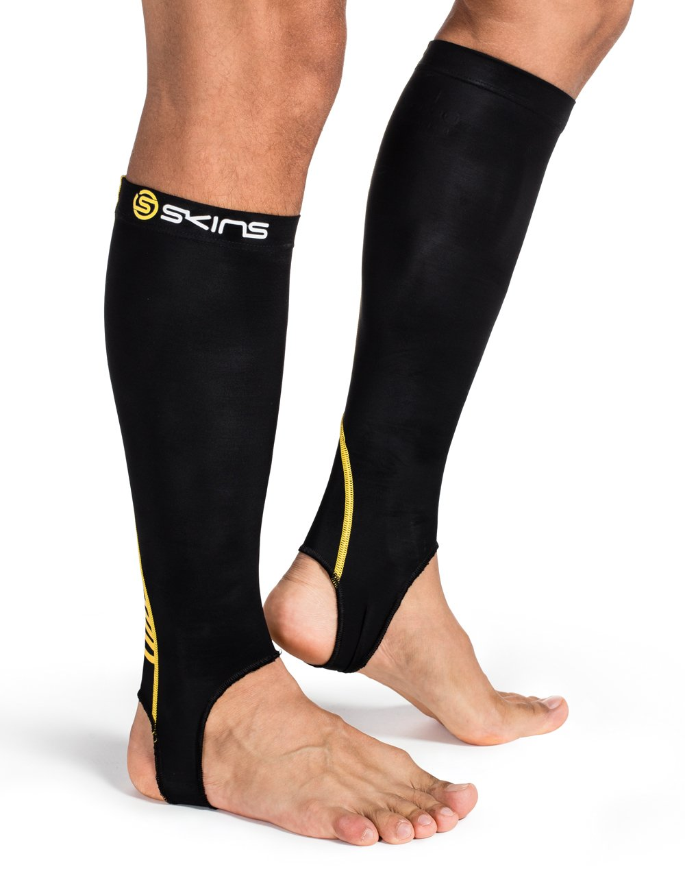 Skins Compression Unisex Calf Tights with Stirrup Black/Yellow Black, Size:L B59052077