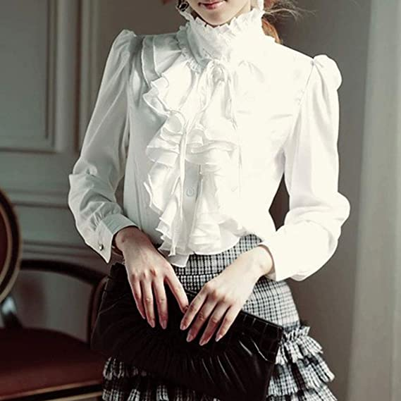 9e9398be17828 PT Key Women s Ruffle Blouse Long Sleeve Gothic Deco Bow Tie High Neck  Dress Shirts at Amazon Women s Clothing store