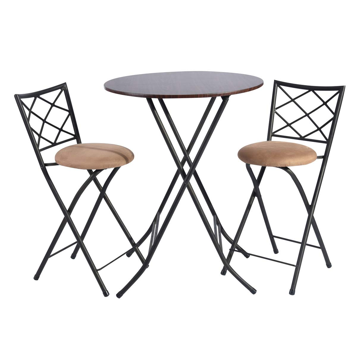 Framodo 3 Piece Folding Counter Height Pub Dining Table Set, No-Assembly Round High Breakfast Table with 2 Cushioned Folding Bar Stool Chairs