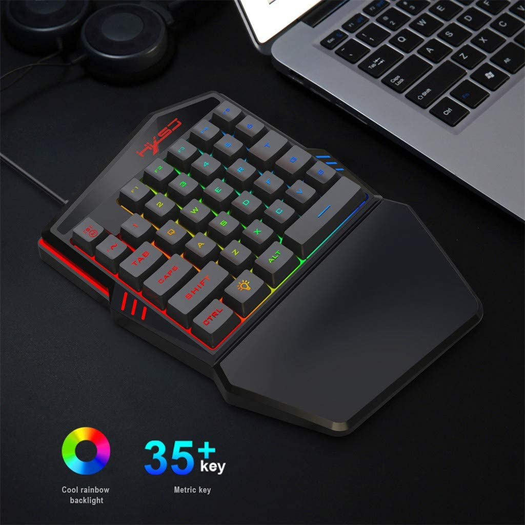 Pathside One Handed Gaming Keyboard with Colorful Backlight Mouse Portable Mini Left Hand Keypad RGB Backlit 7 Programmable Keys Mouse Black