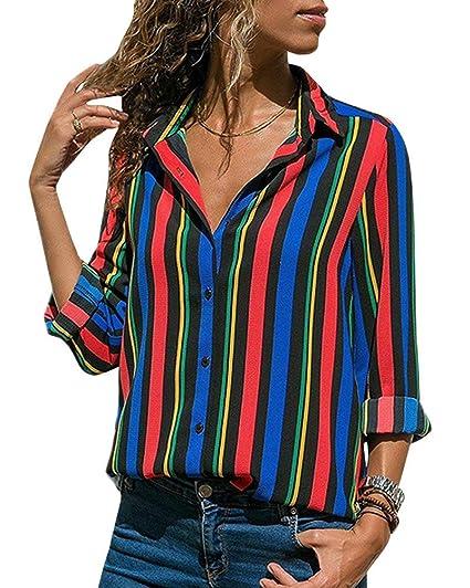 ORANDESIGNE Blusa para Mujer Otoño Primavera Mejor Venta De Moda Casual De Manga Larga Color Block
