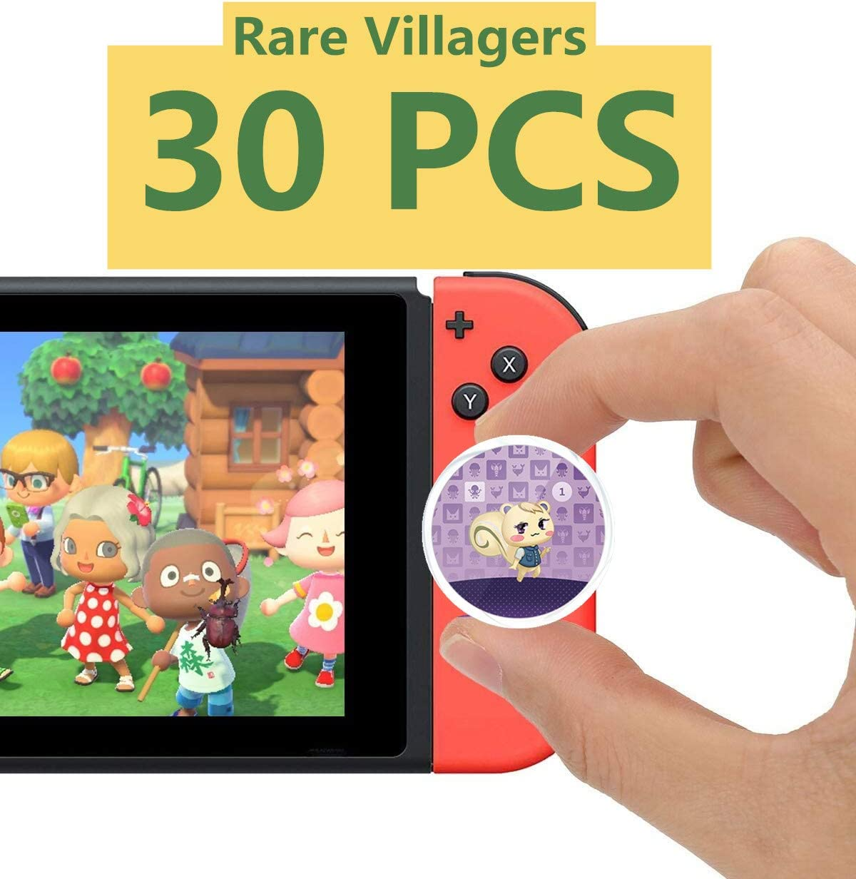 NFC Tag Coin Game Cards 30pcs Selected Rare Villager for Animal Crossing Compatible with Switch with Storage Box