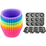 Amazon Basics Nonstick Muffin Baking Pan, 12 cups - Set of 2 & Reusable Silicone Baking Cups, Pack of 12, Multicolor
