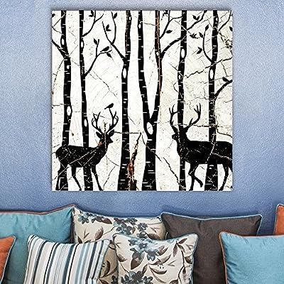 Black White Cracked Ceramic Deer - Canvas Art