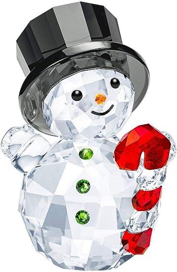 SWAROVSKI Snowman with Candy Cane Figurine, Crystal Fern Green Light siam Jet