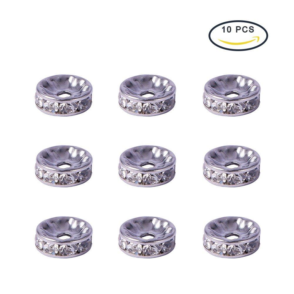 PandaHall Elite 20PCS Perline Distanziatori Perline Rotonde Piatte Acciaio Inossidabile 316 Perline Cristallo Strass 6x3mm
