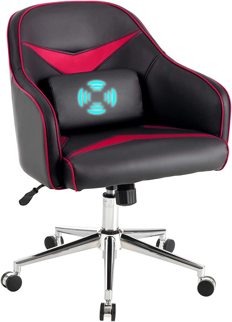 Giantex Mid-Back Armchair, Adjustable Height PU Leather Gaming Chair w Massage Lumbar Pillow, Rolling Swivel Desk Chairs for Office Home Game Room Red Black