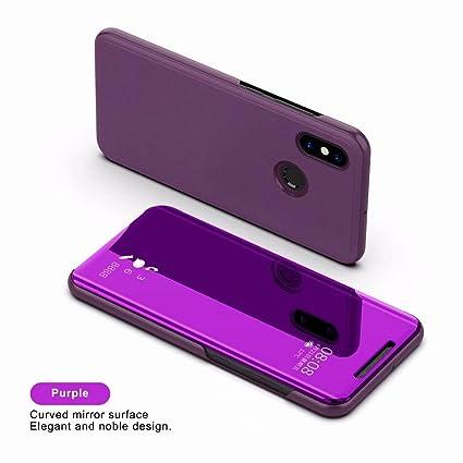 2ndSpring Xiaomi Mi 5X Funda, Xiaomi Mi A1 Flip Cover Carcasa Soporte Plegable,Modelo Inteligente Fecha/Hora Ver Espejo Brillante tirón del Caso Duro ...