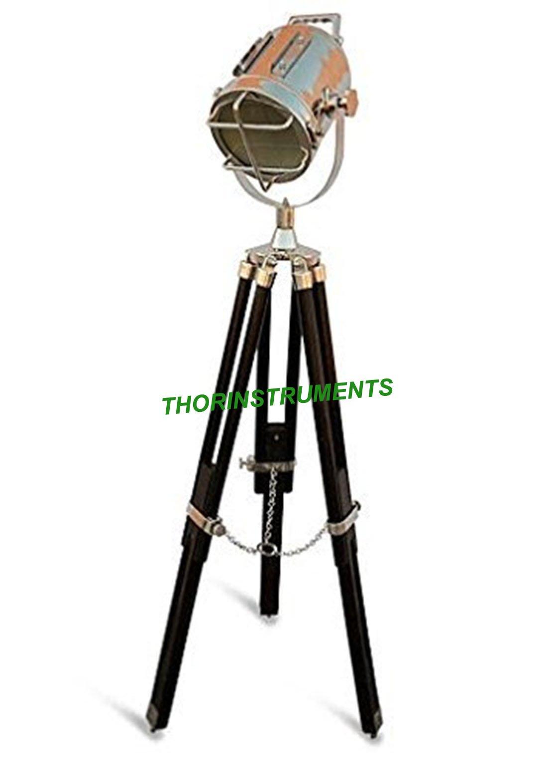 Nautical Black Tripod Spot Light Chrome Searchlight Wooden Tripod Mini Floor Lamp