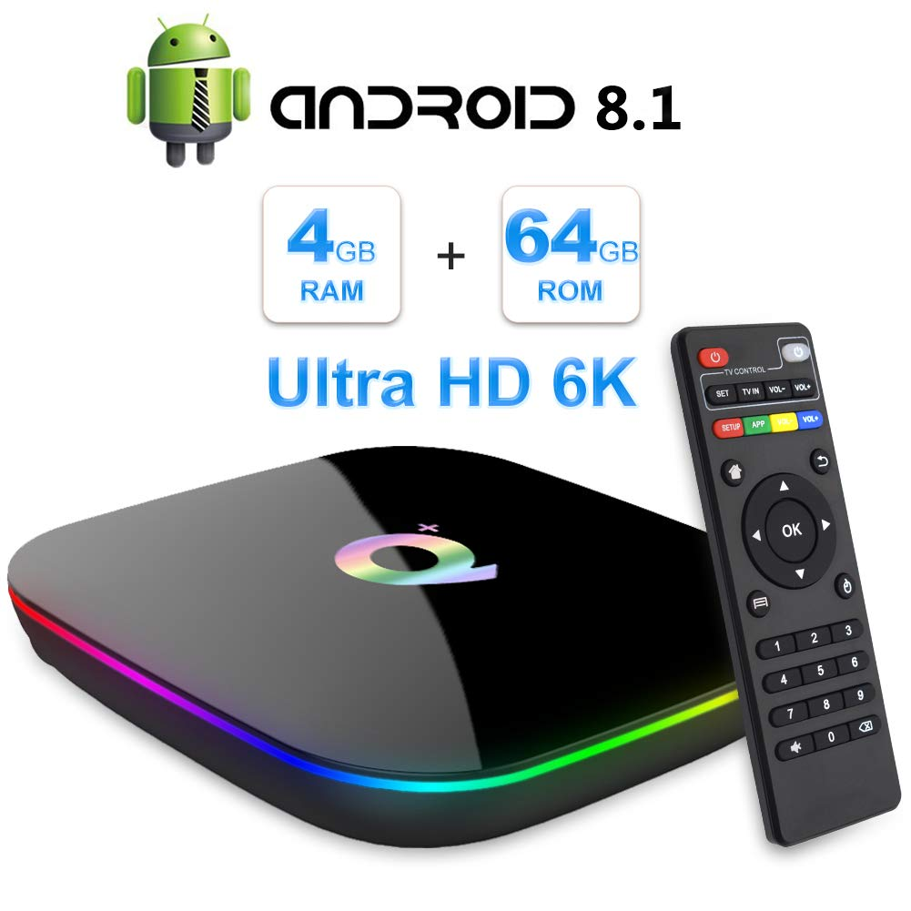 Android TV Box, 2019 TV Box Android 8.1 con 4GB RAM 64GB ROM H6 Procesador Quad Core Cortex-A53 Smart TV Box, soporta 6K Resolución 3D 2.4GHz WiFi 10/100M Ethernet USB 3.0 Reproductor Multimedia