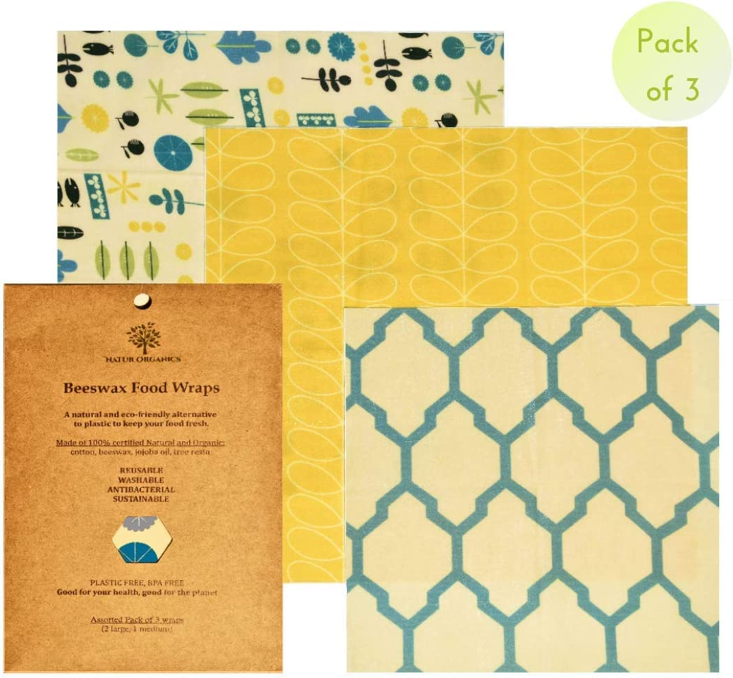 NaturOrganics Reusable Beeswax Food Wrap. Beeswax Paper, Eco Friendly, Zero Waste, Organic Bees Wax Food Storage, Wrappers Cling Sandwich, Alternative To Plastic, Sustainable Product