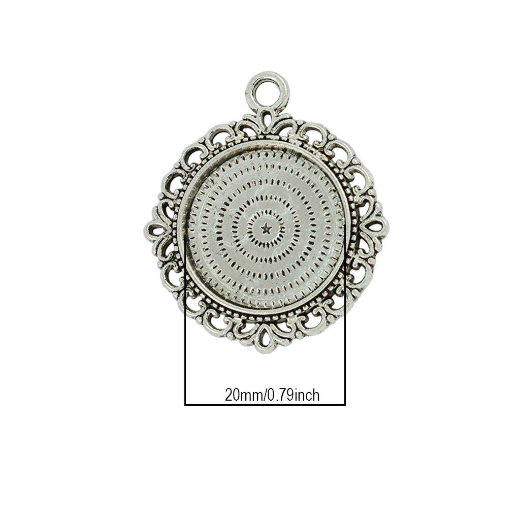 Homyl 10 Pieces Blank Bezel Pendants Blanks Base Settings Tray for Jewelry Making 20mm