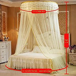 Guerbrilla Luxury Princess Pastoral Lace Bed Canopy Net Crib Luminous butterfly, Round Hoop Princess Girl Pastoral Lace Bed Canopy Mosquito Net Fit Crib Twin Full Queen Extra large Bed (white)