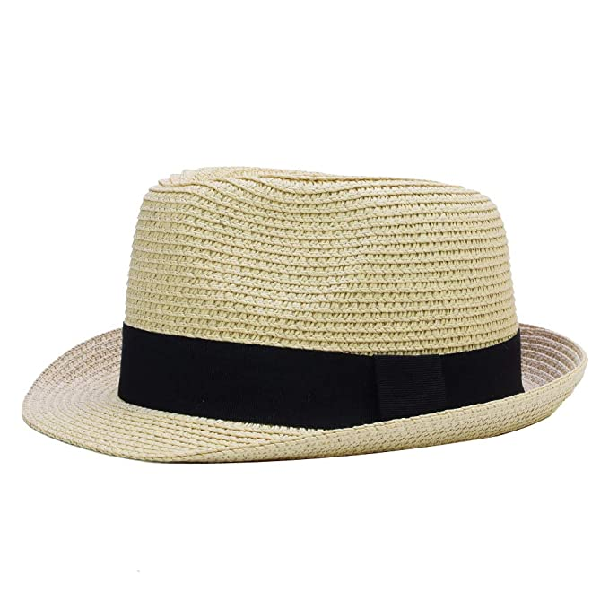 7c548c65 Sandy Ting Kids Boys Girls Summer Panama Straw Fedora Hat Short Brim Beach  Sun Cap Beige