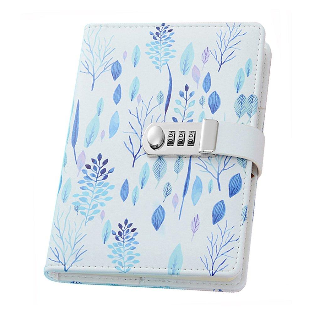Ai-life Notebook con password in pelle Creative PU, notebook con legatura a fili A5, organizzatore diario con password segreta con porta penna a combinazione e slot per schede, 150x215mm