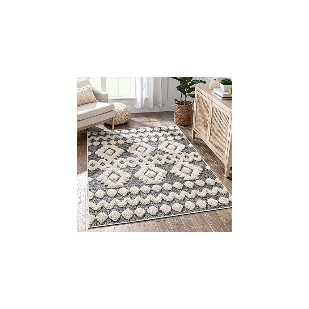 "Well Woven Cenar Grey Flat-Weave Hi-Low Pile Diamond Medallion Stripes Moroccan Tribal Area Rug 5x7 (5'3"" x 7'3"")"