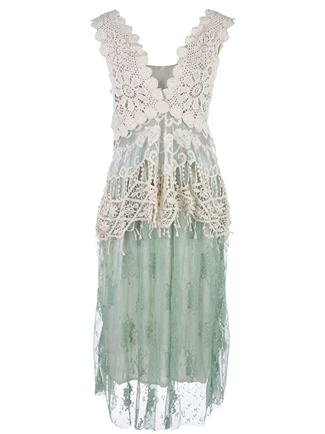 Roaring 20s Costumes- Flapper Costumes, Gangster Costumes Vintage Lace Ruffle Dress $47.90 AT vintagedancer.com