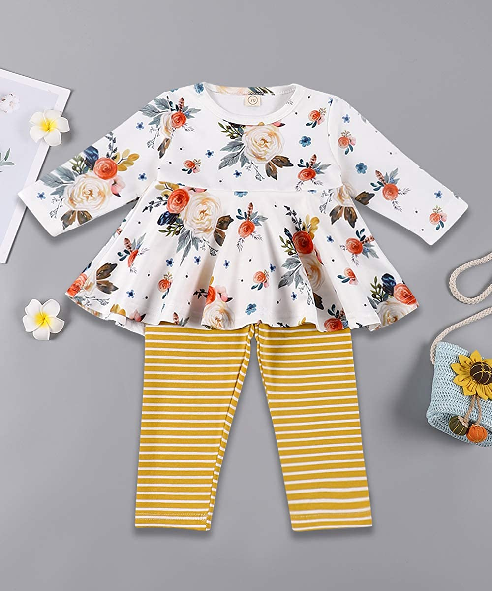 TUEMOS Baby Girl Clothes Long Sleeve Top Floral Pants with Headband Fall Winter Toddler Infant Outfits Sets