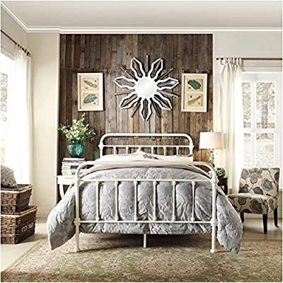 Inspire Q Giselle Antique White Graceful Lines Victorian Iron Metal Bed (Queen) -  - bedroom-furniture, bedroom, bed-frames - 61GoJvpbpML. SS400  -