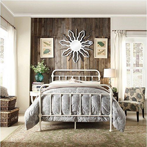 (Giselle Antique White Graceful Lines Victorian Iron Metal Bed - Full Size by Inspire Q)