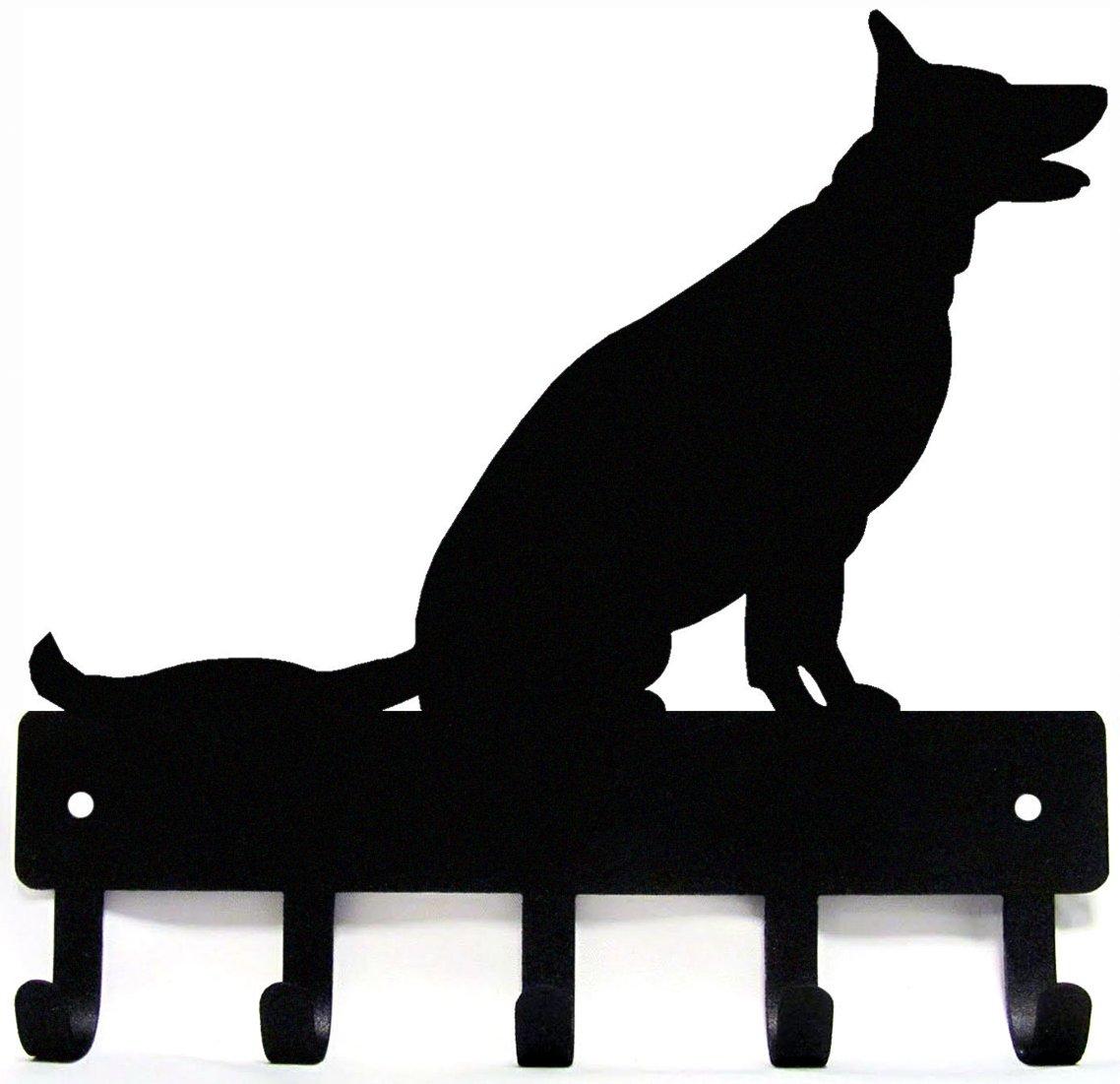 German Shepherd Sitting - Key Rack & Dog Leash Hanger - Large 9 inch