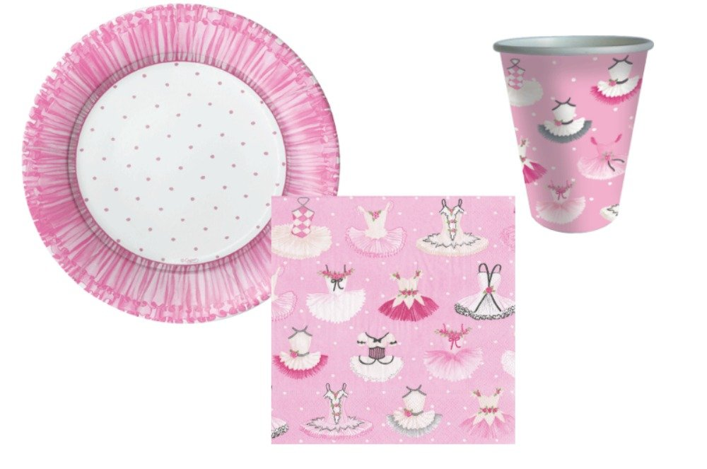 Ballet Theme Party Supply Pack! Bundle Includes Plates Napkins & Cups for 8 Guests in a Tutus Design