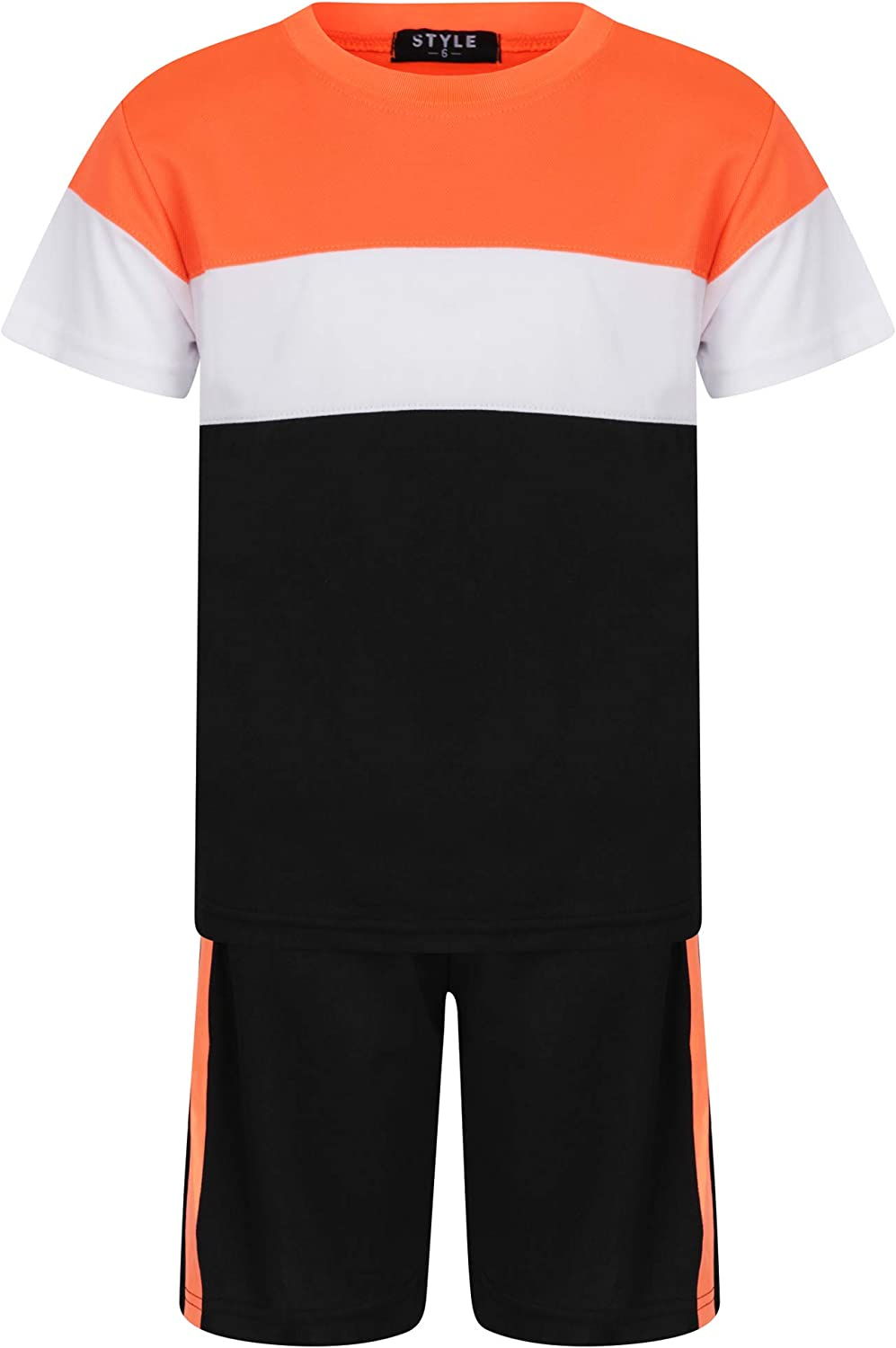 Aelstores Boys Two Toned Striped Co Ords T-Shirt and Shorts Set Outfit for Summer Age 3-14 Years
