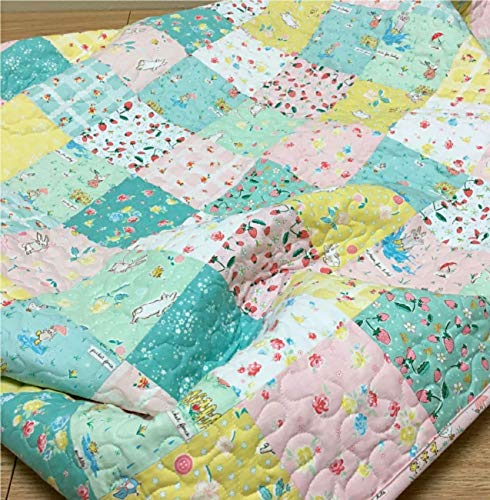 Handmade Baby Girl Quilt Bunnies Blossoms and Strawberries Nursery Crib Bedding