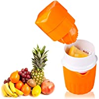 Hand Juicer Orange Squeezer Manual Lid Rotation Press Reamer Maker for Lime Lemon Watermelon Grapefruit Portable Outdoor Easy to Clean Container/Strainer