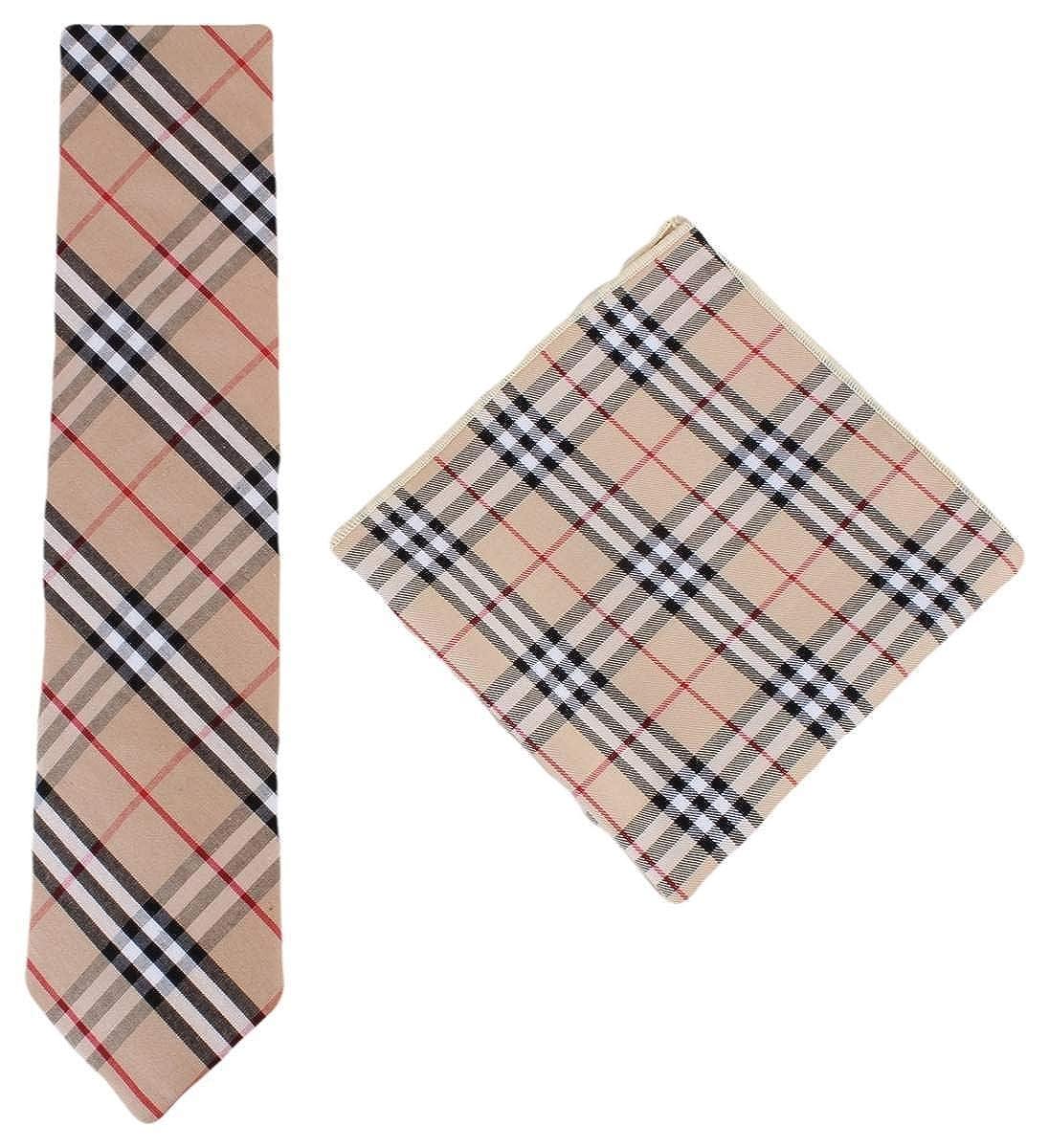Knightsbridge Neckwear Mens Check Cotton Tie and Pocket Square Set Beige//Black//Red