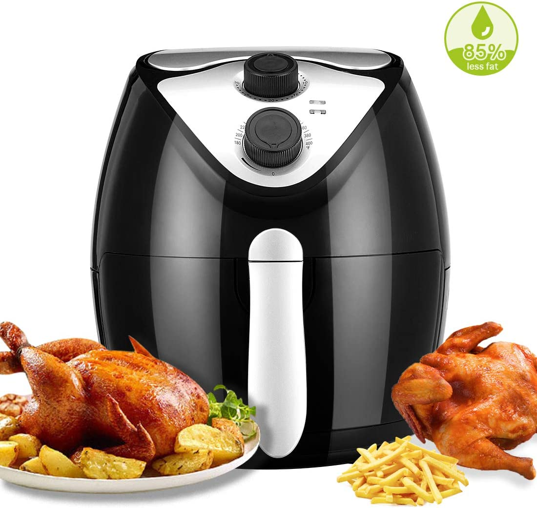 3.7 Quarts Air Fryer,Smokeless Electric Air Fryers for Pizza Pork Chicken Steak Shrimp Fries Chips Cake and Fish with Recipes