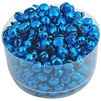 Yalulu 100PCS 6MM Mini Jingle Bells Iron Loose Beads Small For Festival Party Decoration//Christmas Tree Decorations//DIY Crafts Accessories Blue