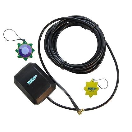 HQRP Antena externa GPS amplificada 1575.42 MHz de montaje magnético para GPS 76 (010-