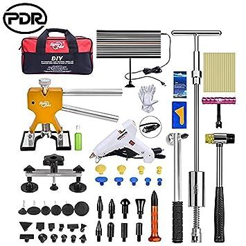 PDR: Kit de extractor de abolladuras para coche, kit de reparación de abolladuras, abolladuras y abolladuras (20 piezas, placa de línea LED): Amazon.es: ...