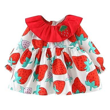Amazon.com: Bebé recién nacido niñas vestido de fresa de ...