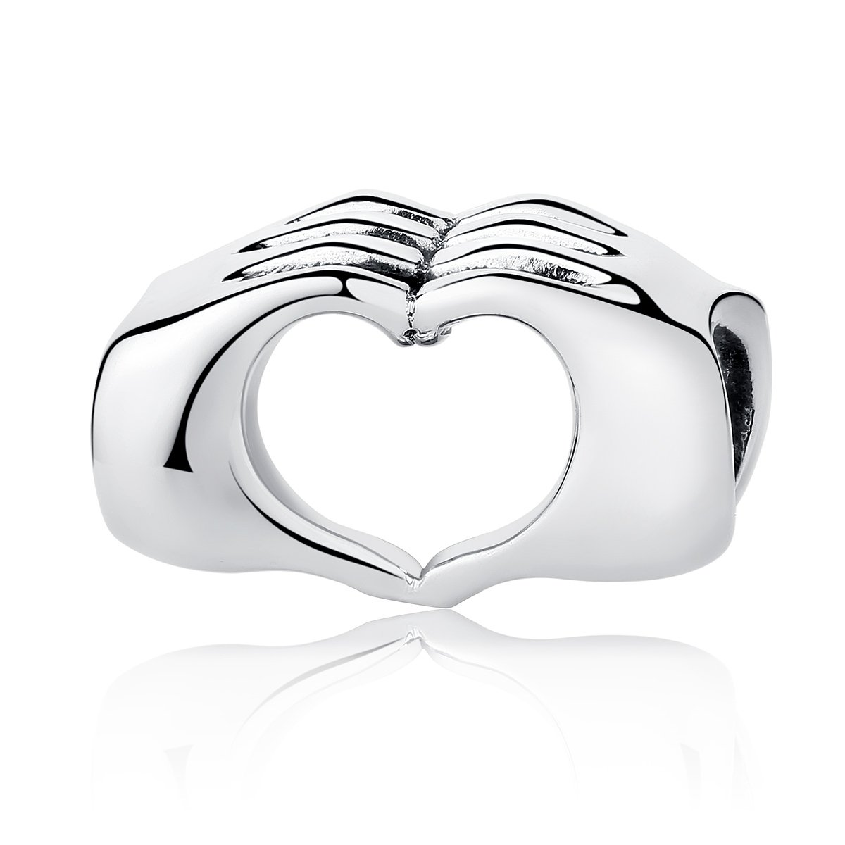 BISAER Heart Hand Bead Charm Love in Your Hands Charm Bead Finger Charm with Heart Charms Fit Snake Chain Bracelets for Women