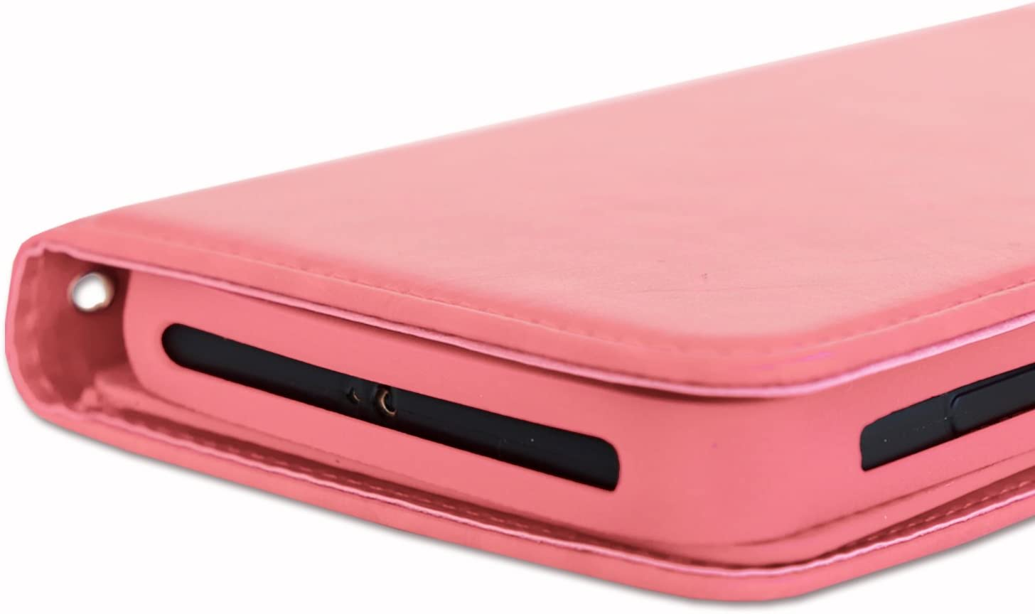 PH26/® Etui housse folio pour LOGICOM L-ement 403 format portefeuille en /éco-cuir bleu avec double clapet int/érieur porte cartes fermeture magn/étique et surpiqures apparentes