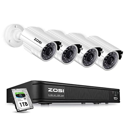 ZOSI Home Security Camera System Outdoor Indoor, 1080p Lite/720p Security  DVR 8 Channel with Hard Drive 1TB and 4 x 720p Surveillance Bullet Camera,