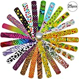 Snap Bracelets with Hearts Emoji Animal Print for Birthday Party Favors, Pinowu Slap Bracelets for Kids Boys Girls Adults Christmas Party Supplies [25 Pack]