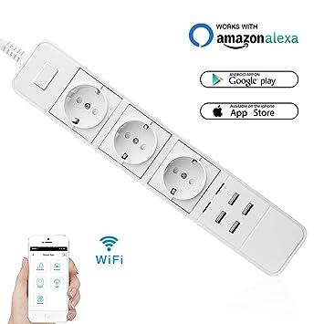 Smart Socket WiFi, Enchufe inteligente inalámbrico 3 Socket 4-USB ...