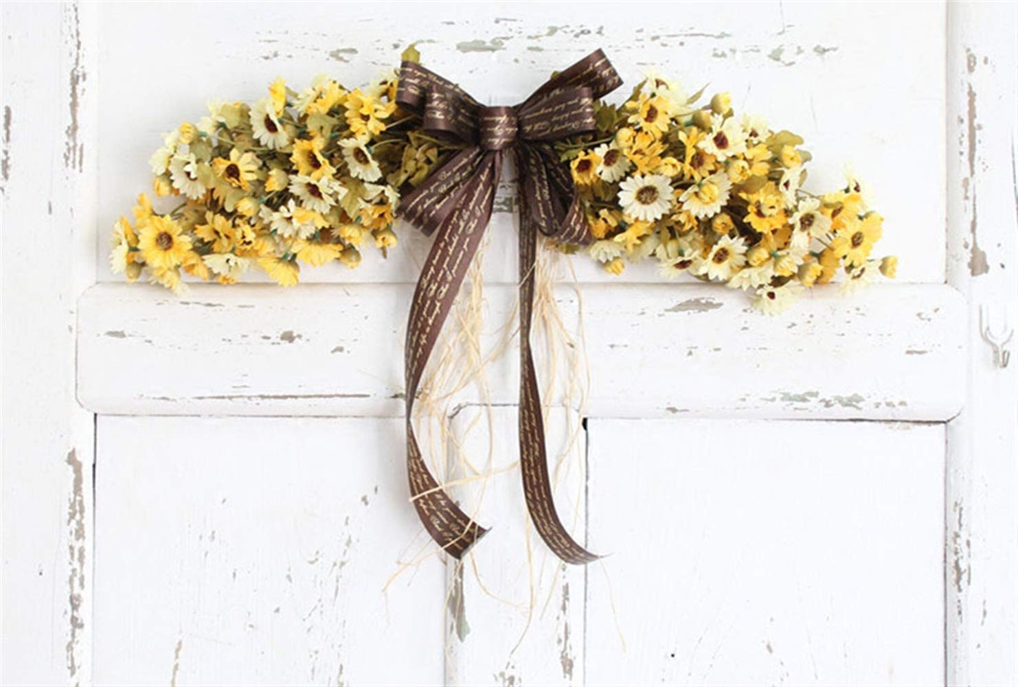 Liveinu Artificial Daisy Floral Swag for Front Door Flowers Arrangements Wedding Table Centerpieces Door Swag for Decor 21.8 x 4.9 Inch Yellow Swag Wreath