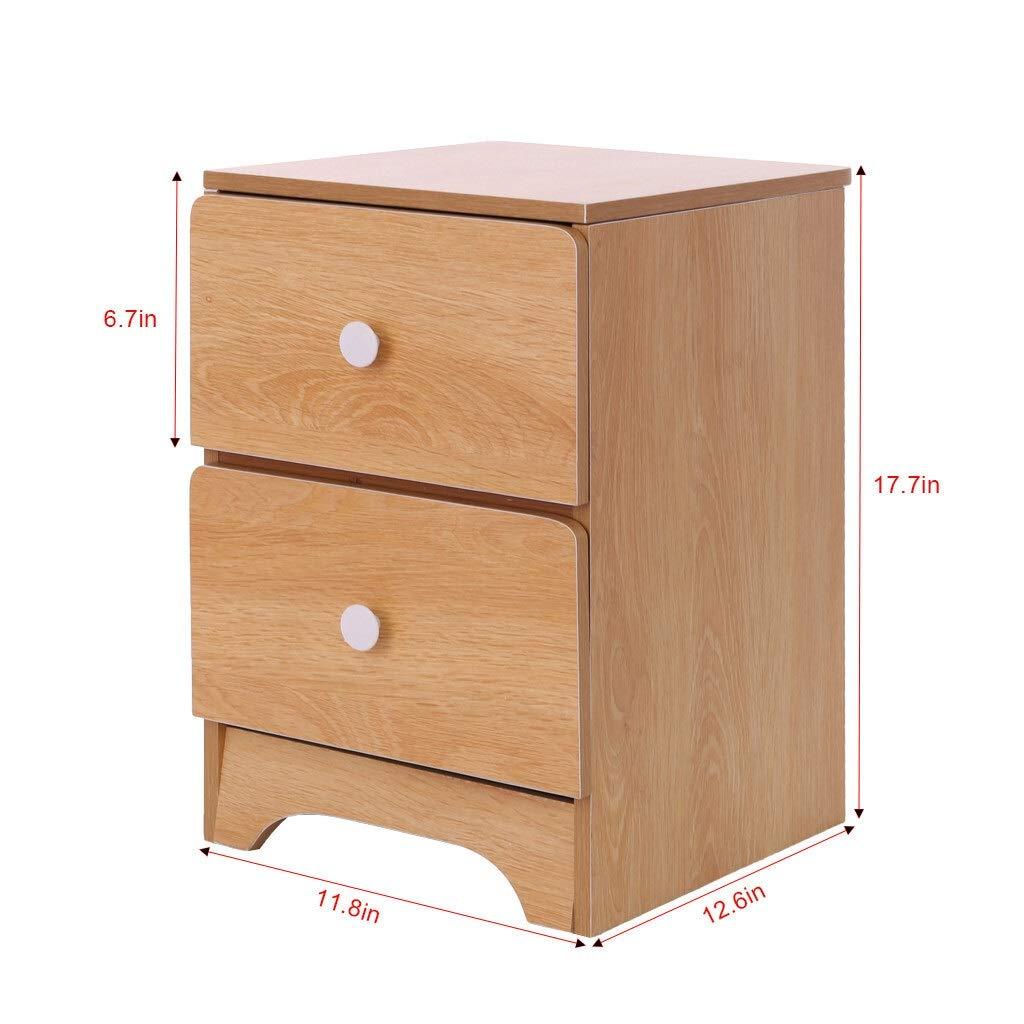 ZeanIImy DIY Minimalist Bodenmontage Nacht zusammenbauen Lagerschrank Schlafzimmer Nachttisch Doppel Schublade DIY Holztisch Möbel Möbel (Farbe : Yellow)
