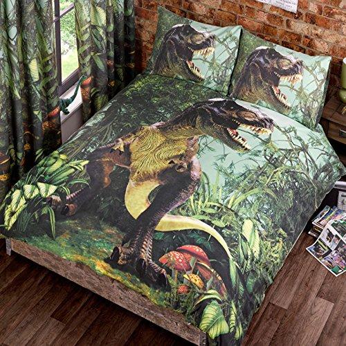 Urban Unique T-REX Duvet Quilt Cover Double Jurassic Dinosaur Dino Jungle Park Bedding Set