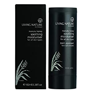 Living Nature Soothing Moisturizer For Men Certified Natural, Cruelty-free, Facial Cream For Irritated, Sensitive Skin On Face And Neck And After Shaving 100ml / 3.38oz