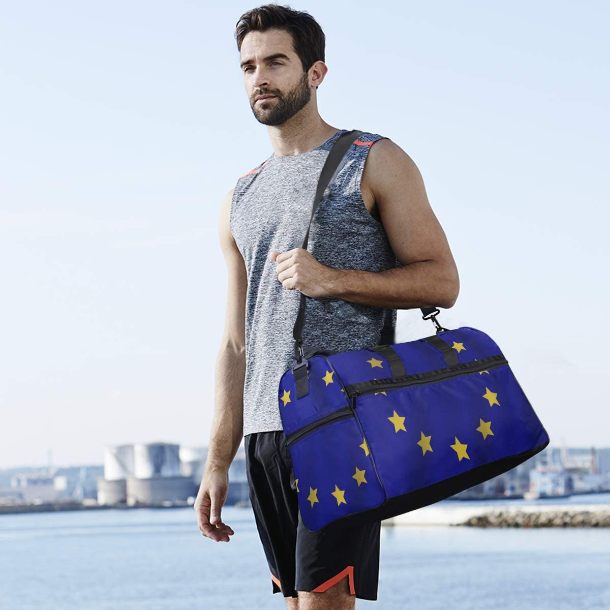Travel Duffels Misc European Union Flag Duffle Bag Luggage Sports Gym for Women /& Men