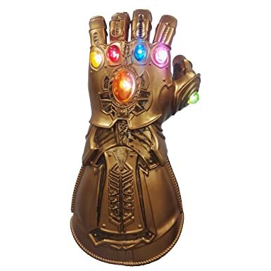 ZhangHD Avengers Infinity War Thanos Infinity Gauntlet PVC Gloves for  Halloween Props (with LED Light-up Function)