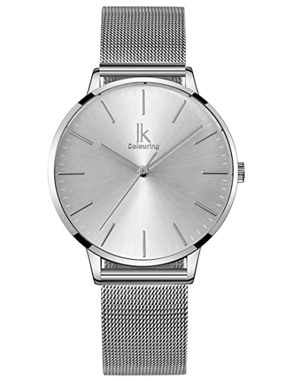 Alienwork Reloj Mujer Relojes Acero Inoxidable Plata Analógicos Cuarzo Impermeable Ultra-Delgada